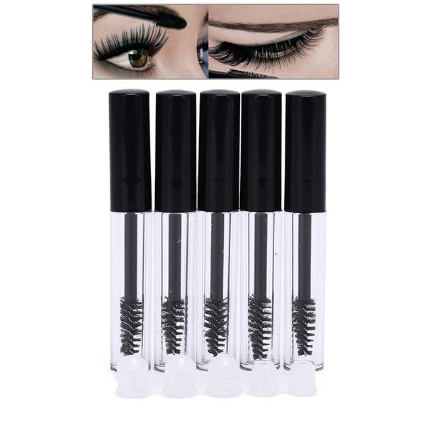 2018 Hot 5PCS/Lot Plastic Mascara Tube Vial Bottle Clear Empty Container Black Cap eyelash growth medium mascara Fashion 10ML