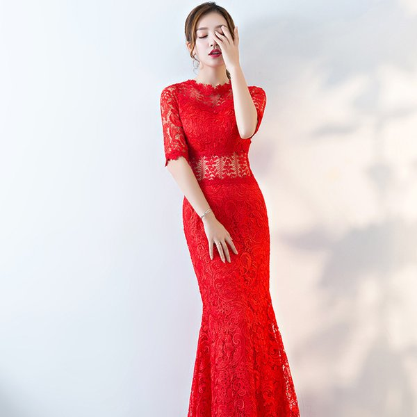 KM026 Evening Dresses Long Women Elegant Mermaid Lace Half Sleeve Formal Party Evening Dress for Wedding Prom Gowns