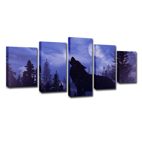 Canvas Painting Wall Art Home Decor 5 Pieces Blue Moon Night Black Wolf Pictures For Living Room Modern HD Printed