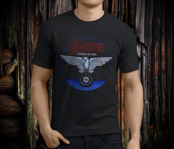 Popular SAXON Wheels of Steel Rock Band Legend camiseta negra para hombre, talla S-3XL