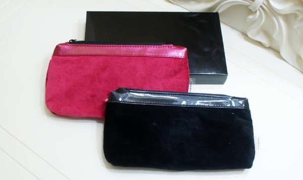 2018 Avec motif classique rose noir 2 couleurs sac à main sac à maquillage sac célèbre logo sac de velours avec boîte-cadeau