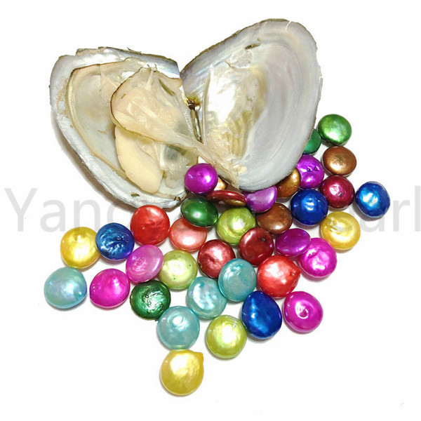 Mix Colors 10-13mm Single Button Round Coin Pearl In Freshwater Oyster Colorful Pearls DIY Festival Jewellery Gift Pearl Party Free Shipping