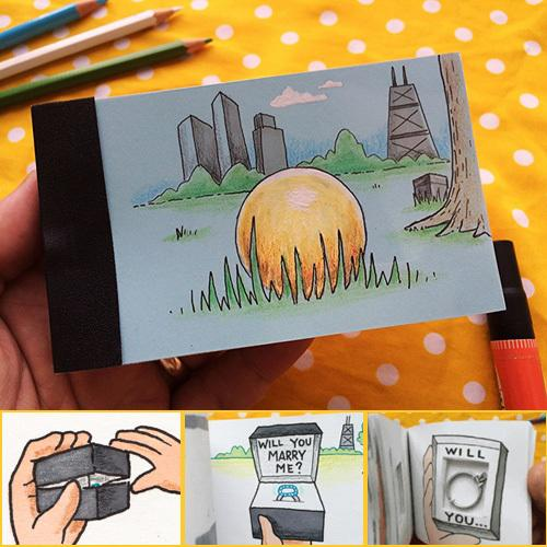 Creative Propos DIY Propose Gift Flip Flap Book Can Hide the Marriage Ring Carton Flippist FlipBook Christmas day gift