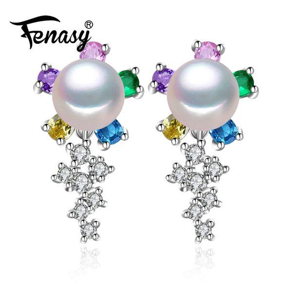 Brincos de casamento FENASY Emerald brincos de safira jóia da pérola das mulheres 925 brincos de prata Bohemia earringsY1882701 big flor