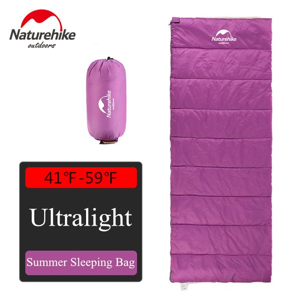 Naturehike Rectangular Summer Purple Cotton Sleeping Bag Portable Compact Camping Gear with Compression Sack