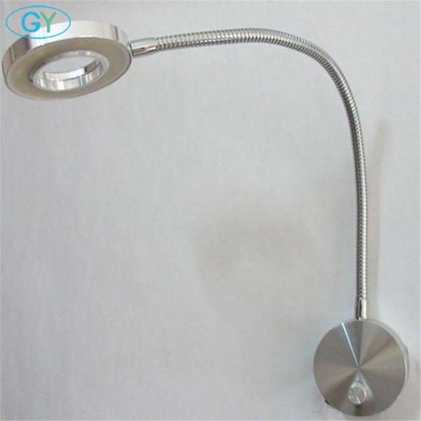 Moderno regulable led luz de la cabecera lámpara de lectura interruptor de la perilla atenuación montaje en pared iluminación flexible 5W llevó accesorios cuello de cisne