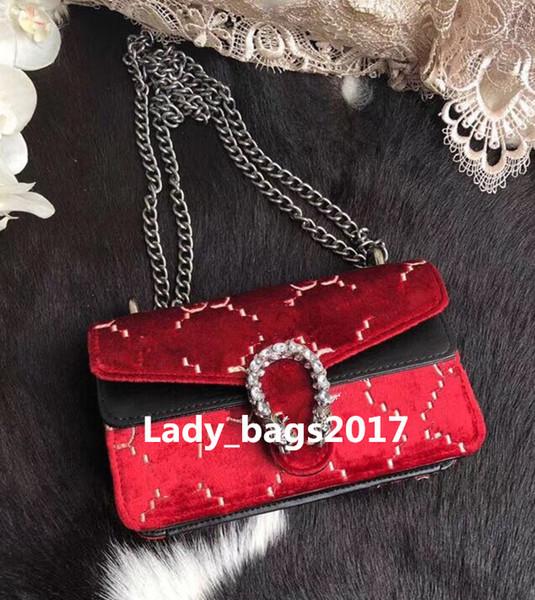 Di lusso 18 cm Mini vino Dio borse ricamo Hangbags borse in velluto Borsa famoso designer borsa tracolla di catena tracolla tracolla Messenger Bag