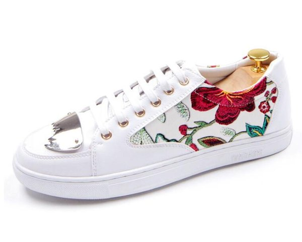 NEW arrival Men Shoes Lace-up Shoes white red embroidery Leather Real Leather Mens Moccasins Italian Design Loafers Shoes BMM181