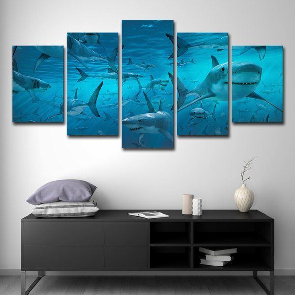 Compre Canvas Poster Wall Art Modular Impressões Fotos 5 Peças Azul Profundo Tubarão Mar Swarm Pinturas Para Sala De Estar Decoração De Casa Estrutura