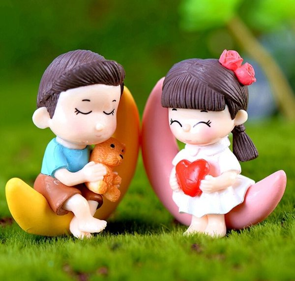 20pcs Resin Moon lovers Miniatures Landscape Accessories For Home Garden Cake Decoration Ornament doll Craft Diy