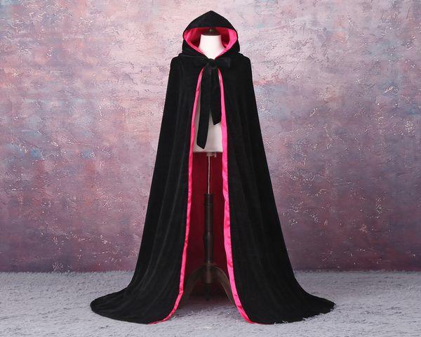 HOT Cloak Hooded Velvet & Satin Velvet Hooded Cloak Cape Medieval Renaissance Costume LARP Halloween Fancy Dress Velvet Cosplay Clothing