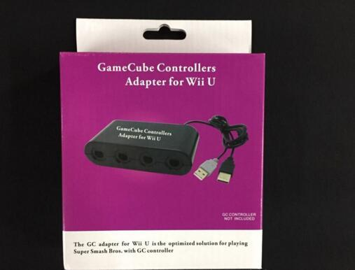 hot sale 4 Ports Replacement Gamecube Game Controller Adapter Converter for NINTENDO Wii U WIIU PC USB Supports GC Adapter W/ retail box