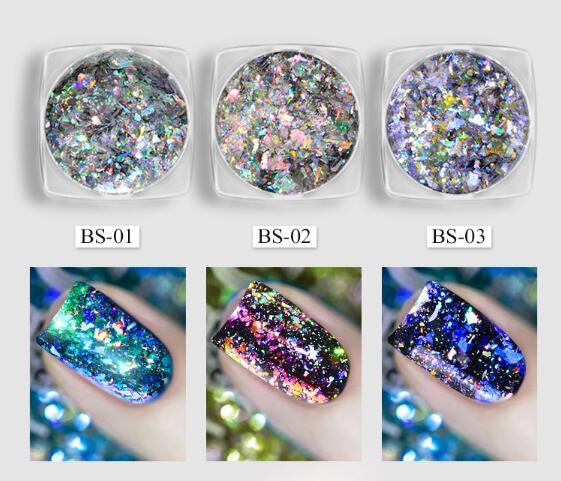 top popular Tatyking 3 Styles Chameleon Holographic Flakes Laser Nail Glitter Sequins Mirror Powder 2020