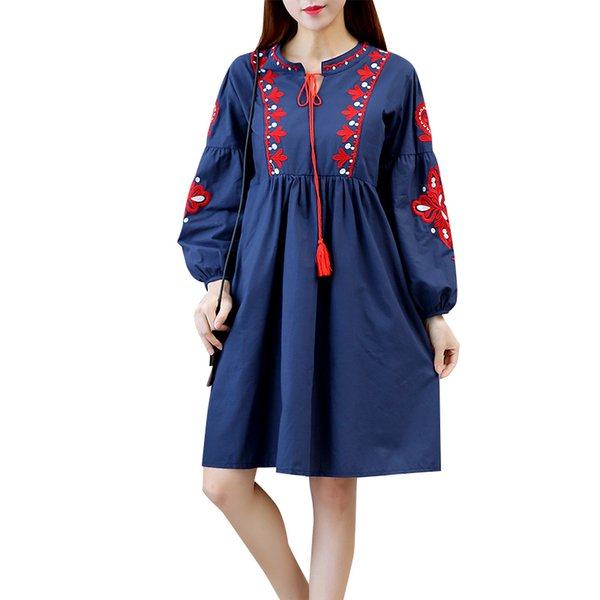 2018 Summer Spring dress for women Ethnic style Cotton linen Long sleeve Women dress Black Red and Blue colors