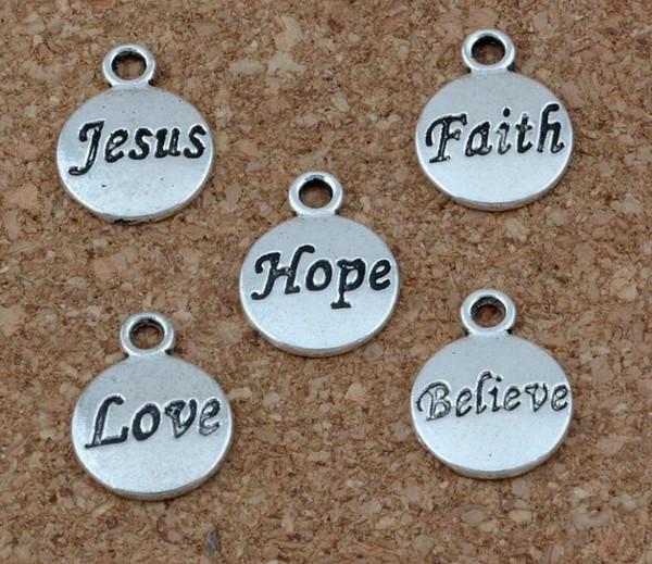 Vintage Silver Hope Believe Love Faith Jesus Charm Colgante Para Europeo Pulsera Collar Pendientes Joyería de Moda Fabricación Mujeres Artesanía Regalos