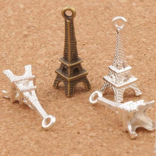 3D Paris Eiffel Tower Alloy Small Charms Pendants 100pcs/lot Bronze Silver Plated Stylish 22mm*8mm Hot Sale