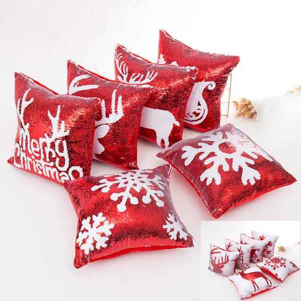 Fodera per cuscino rossa con paillettes Fodera per cuscino oro con sirena Natale XMAS Fodera per fiocco di neve con renne glitter Doppio fodera per cuscino scorrevole