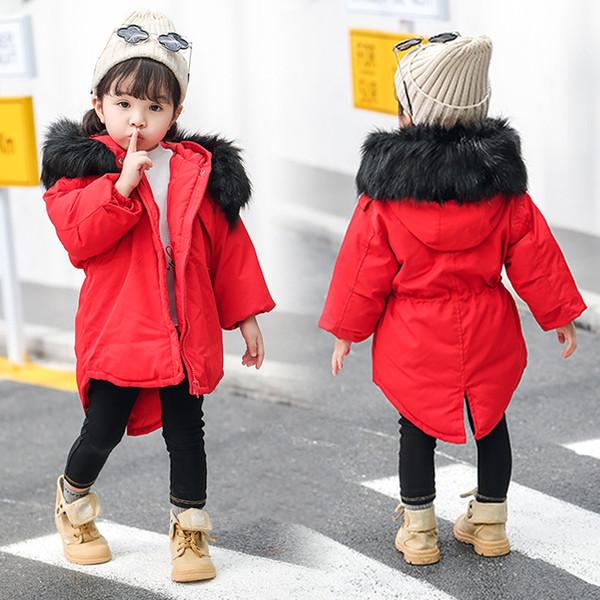2018 Çocuklar Kış Ceket Kaban Bebek Kız Kış Ceket Büyük Kürk Yaka Çocuk Parkas Uzun Kollu Giyim Dış Giyim Aşağı Ceketler