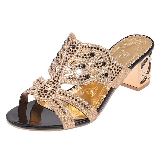 Fashion Sexy Woman High Thick Heels Slides Rhinestone Crystal Summer Women Sandals Cut-Out Square Heels Lady CZ-122