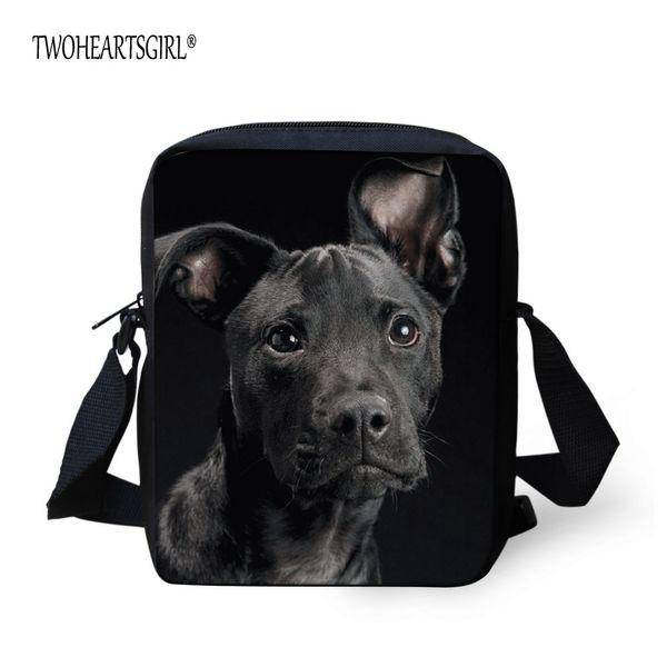 TWOHEARTSGIRL Black Dog Small Messenger Bag Unisex Crossbody Bag Girl Boys Mini Flap Male Casual Polyester Adjust Strap
