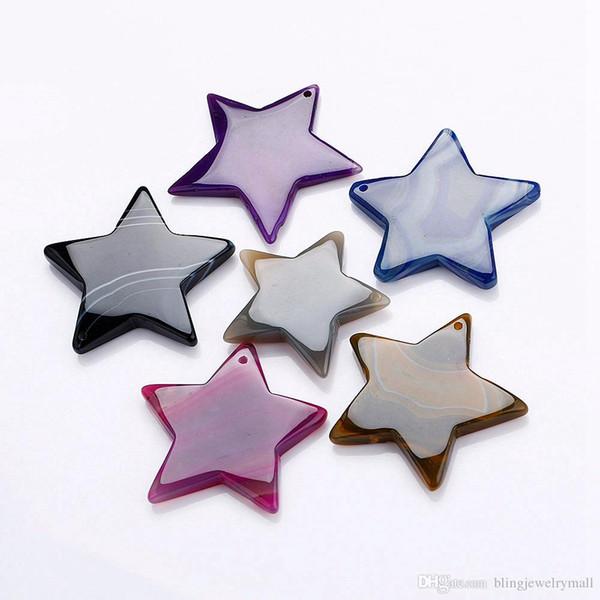 Agate Pendant Polished Star Crystal Slice Geode Quartz High-Grade Bead Necklace Men Jewelry Women Healing Reiki Stone