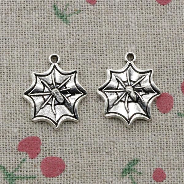 59pcs Charms apider cobweb halloween 22*18mm Tibetan Silver Vintage Pendants For Jewelry Making DIY Bracelet Necklace