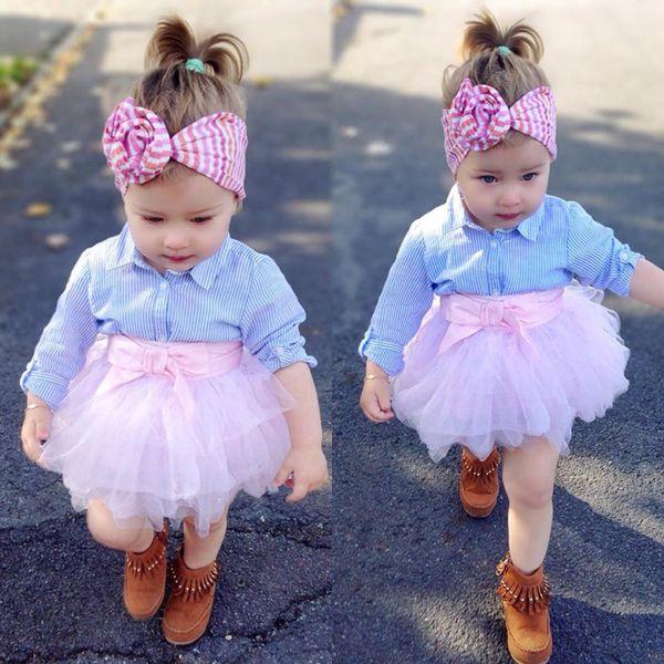 2018 Primavera New Baby Girls Fashon Set Roupas Crianças Manga Longa Listrada Camisas Top + Rosa Bowknot Tutu Saias 2 PCS Outfits Crianças Tracksuit