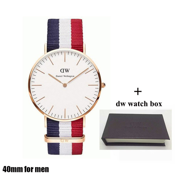 2018 famous brand mens Daniel WATCHes fashion nylon strap style 40mm rose gold mens watch with gift box quartz watch male clock relojes