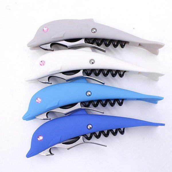 High Quality Novelty Wine Beer Key Chains Bottle Opener Creative Dolphin Beer Wine Bottle Opener Multi-Function Practical Tool 200pcs