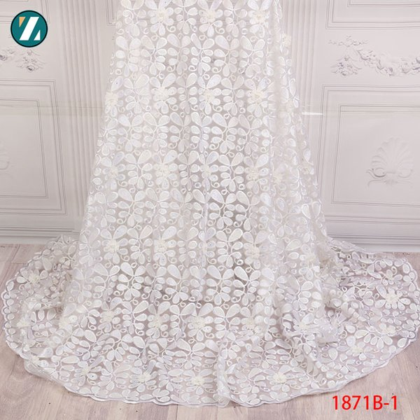 White Nigerian French Lace Fabrics 2018 African 3d Flowers Trim beads with stone Tulle Lace Fabric African Lace Fabric XZ1871B-1