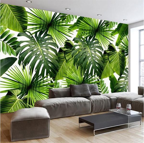 top popular Custom 3D Mural Wallpaper Southeast Asia Tropical Rainforest Banana Leaf Photo Background Wall Murals Non-woven Wallpaper Modern 2019