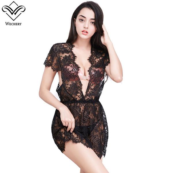 Lencería sexy de encaje a cielo abierto perspectiva correas falda transparente Encantadora jacquard de encaje mujeres tentación adelgazamiento ropa interior