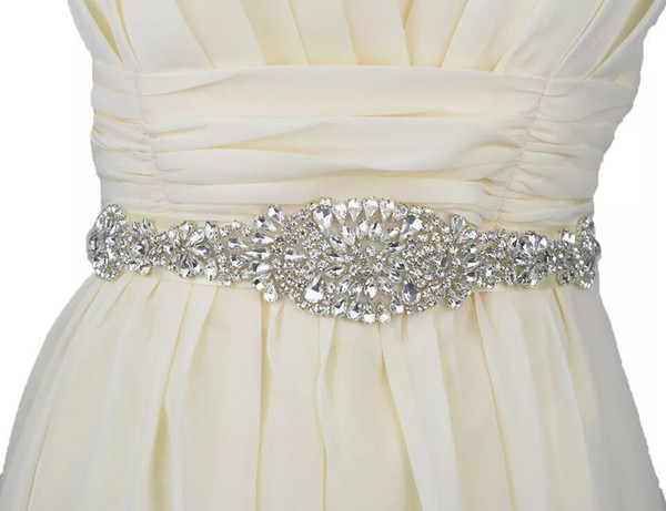 Wedding Belt Bridal Sash Rhinestones Applique,Sew on Iron on Diamante Crystal Beading Wedding Trimming Sparkly for Women Gown Dress