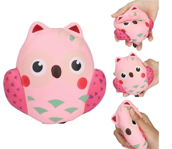 DHL Wholesale 12CM Cute Squishy Kawaii Pink Owl PU Soft Slow Rising Phone Strap Squeeze Break Kids Toy Relieve Anxiety Fun Gift New