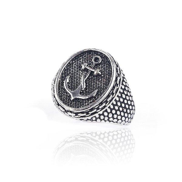 Venda quente de comércio exterior marca maré dos homens anel de hip hop nova âncora chapeamento de proteção de cor boutique anel