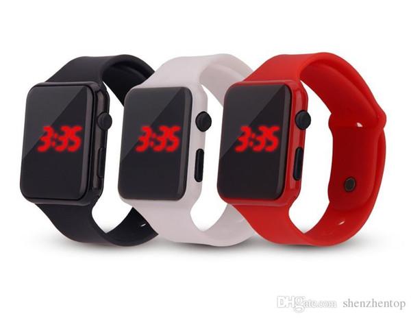 2018 Sıcak Yeni Kare Yüz Silikon Band LED Dijital İzle Kırmızı LED Saatler Kuvars Bilek İzle Spor Saat saatleri