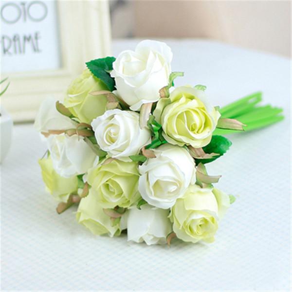 7pcs/lot Handmade Artificial Rose Flowers Wedding bouquet White Pink Thai Royal Rose Silk flower Home Decoration Wedding Party Decor