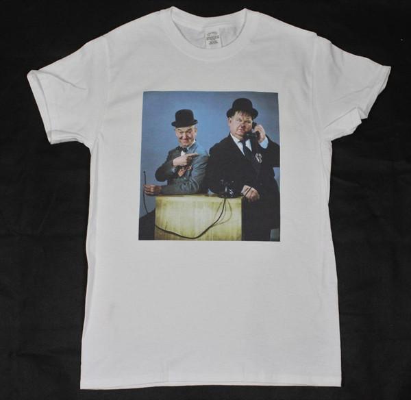 Laurel e Hardy Branco T-Shirt S-3XL vintage comédia retro filme mudo Chaplin Tshirt O-pescoço Personalidade Verão Moda T-shirt Dos Homens
