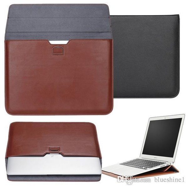 New PU Leather envelope case Ultra Thin Carrying Bag with Stand Wallet sleeve pouch Holder cover Bag for Macbook 11 /12/13/15 inch