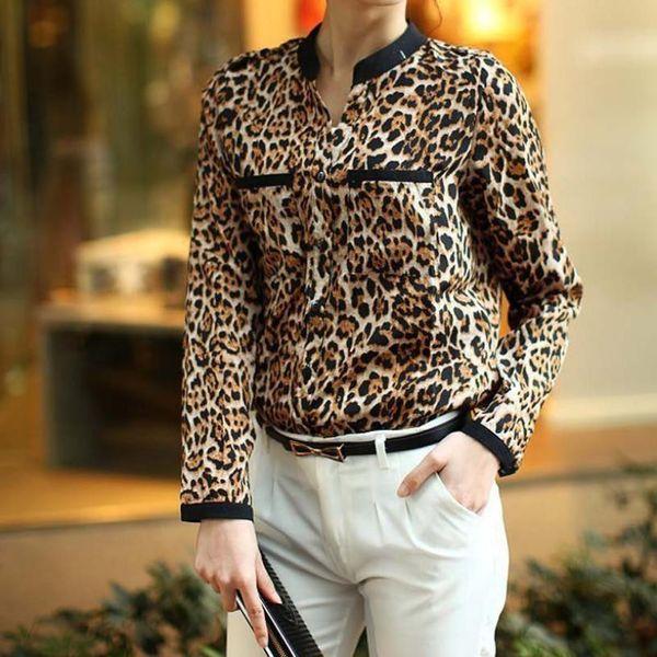 women's shirt Leopard Print blouse womens Long Sleeve Chiffon Shirt Slim Casual Blouses mar19
