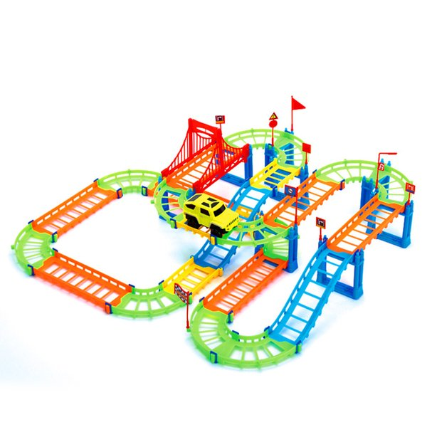 74PCS 3D Two-layer Spiral Track Roller Coaster Toy Electric Rail Car For Child Kids Gift Random Color FJ88