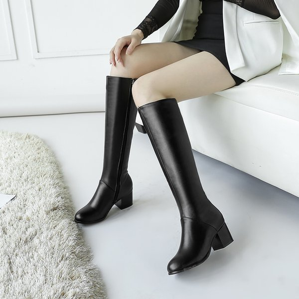 S.Romance Women Boot Woman Winter Shoes Knee High Med Square Heel Short Plush Lining Zip Size 34-43 High Quality SB382