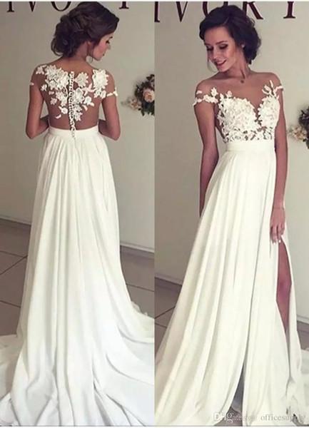 Vestidos de novia de gasa de playa sexy Cuello Apliques de encaje Manga corta Muslo Altas rendijas Vestidos de novia Por encargo