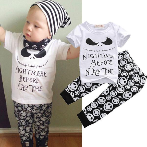 Ins bambini Set di abbigliamento in cotone divertente stampa Suit Abiti Baby Sets manica corta bambini Skull T-shirt pantaloni