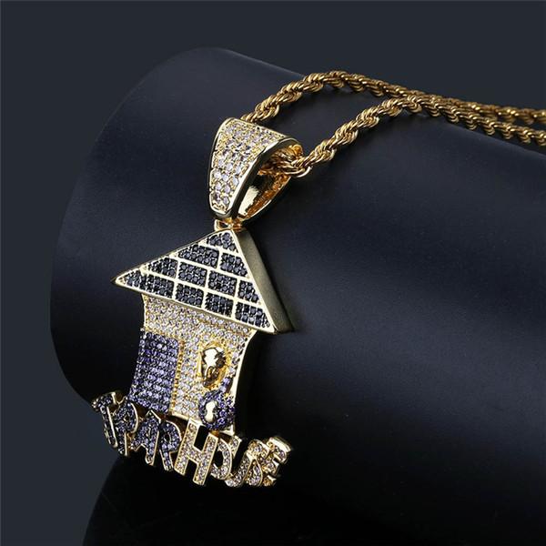 Nueva moda para hombre joyería punky oro amarillo plateado completo CZ casa colgante collar para hombre joyería de Hip Hop