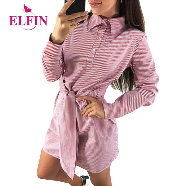 T-Shirts dresses Striped turn down bow ties bandages full sleeves 2018 Autumn Vintage mini Dress party OL Vestidos WS9465R