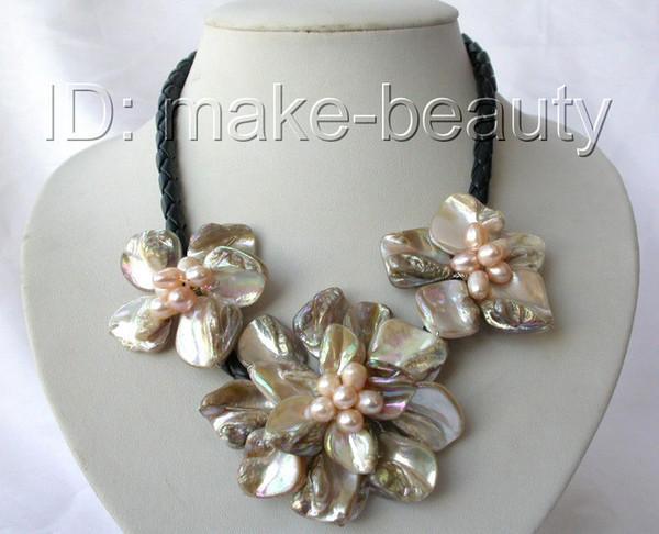 collana in pelle fiore barocco classico coltivato d'acqua dolce barocca h512
