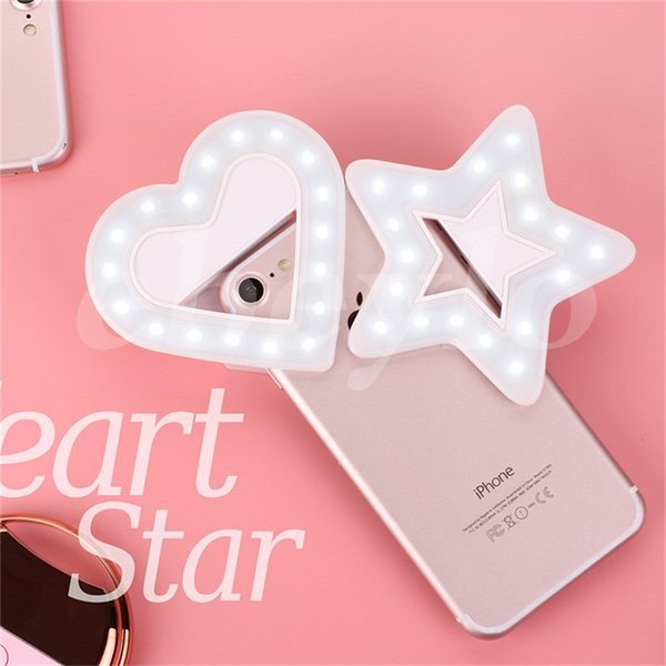 USB Charge LED Portable Flash Led Camera Clip-on Mobile phone Ring light video lights Enhancing For Cell Phone Star Heart Shape