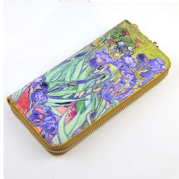 Frauen-Kunstleder-Reißverschluss um Geldbörsen-Van Gogh-Meisterwerk Ölgemälde-Geldbeutel-Handtaschen-Handtaschen-Kupplungs-Kreditkarte-Halter 3D