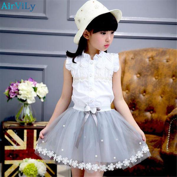 Одежда для девочек 2018 летние дети спортивный костюм девушки платья цветок блузка футболка сетка юбка 2 шт. Детская одежда костюм